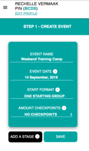 Showing you how to set up your event or race details