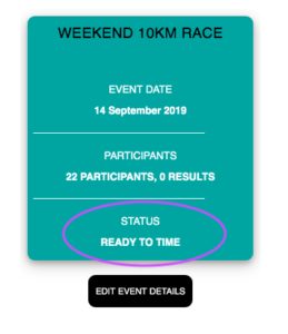 Your event is ready to time
